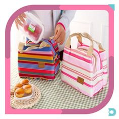 picnic tote on sale at reasonable prices, buy QICAI.YANZI 2017 Insulated Cold Canvas Stripe Picnic Tote Carry Case Hot Sale Girl Thermal Portable Lunch Bag Bolsa Termica from mobile site on Aliexpress Now! Lunch Tote Bag, Picnic Bag, Lunch Bags, Bags Travel, Travel Cosmetic Bags, Lunch Box Warmer, Boite A Lunch, Cool Lunch Boxes, Insulated Lunch Box