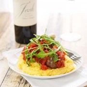 Lamb Meatballs  with Creamy Polenta and Tomato Ragout {Sweet Pea's Kitchen}