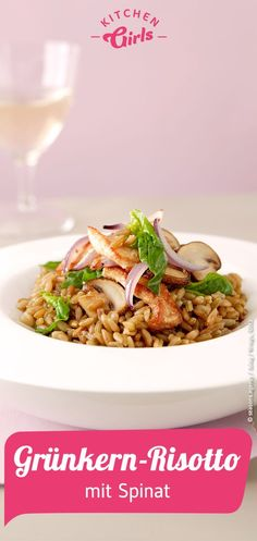Recipe for green seed risotto with spinach Risotto Recipes, Spinach, Main Dishes, Seeds, Food And Drink, Low Carb, Diet, Chicken, Cooking