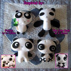 Panda plushies are handmade in felt