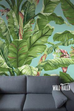 Nahtlose selbst Klebstoff Banane Baum Blatt Muster von WallHalla