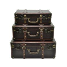 The Three Hands Decorative Suitcases - Set of 3 establishes an ever-present air of having somewhere important to go. Each suitcase-style storage trunk. Decorative Trunks, Decorative Items, Camp Trunks, Suitcase Set, Storing Books, Vintage Trunks, Steamer Trunk, Storage Trunk, Leather Box