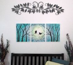 Love Birds in Trees. Group of three 12 x 16 by ArtbySimplyMe
