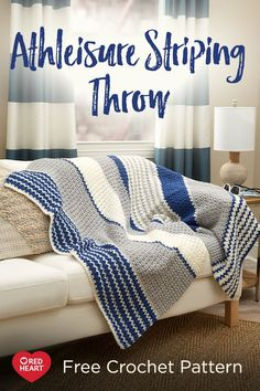 Athleisure Striping Throw free crochet pattern in Classic yarn. Sporty stripes in a cool pattern stitch are perfect for any living area or dorm room space. This crochet throw has a no frills sensibility that can be done in favorite team colors or in fresh new colors that work for you!