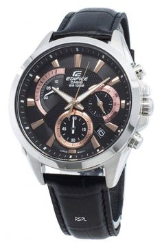 Features:  Stainless Steel Case Leather Strap Quartz Movement Mineral Crystal Black Dial Analog Display Chronograph Function 1-Second Stopwatch Accuracy: ±20 Seconds Per Month Regular Timekeeping Luminous Hands Date Display Screwed Case Back Buckle Clasp 100M Water Resistance  Approximate Case Diameter: 44mm Approximate Case Thickness: 12mm