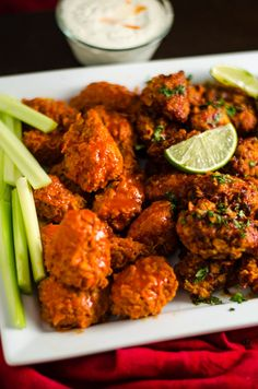 Baked Boneless Wings 4 Ways. Cornflake-coated chicken breast pieces are tossed in homemade Buffalo Sauce, Smoky Chipotle-Lime Sauce, Honey, Bourbon BBQ Sauce, and Orange Glaze. Simple, delicious, and a surefire crowd-pleaser.   hostthetoast.com