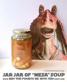 Jar Jar Mesa (Miso) Soup / Check out our blog for lots of Star Wars Party food recipes and downloadable labels! Great ideas for a Birthday Party or a May the Fourth be with you Party. / #starwars #starwarsparty #maythefourthbewithyou #starwarsbirthday #starwarsfood #jarjar #jarjarbinks #mesa #miso #misosoup #foodart #recipe #soup #revengeofthesith #attackoftheclones #tofu #seaweed #yoda #lighsaber #chopsticks / maythefourthbewithyoupartyblog.com Star Wars Themed Food, Star Wars Party Food, Star Wars Food, Jarjar Binks, Miso Soup, Star Wars Birthday, Food Themes, Food Art, Chopsticks