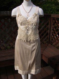 Upcycled Vintage Slip Dress Slipdress Paris by thefishermanswife, $79.00