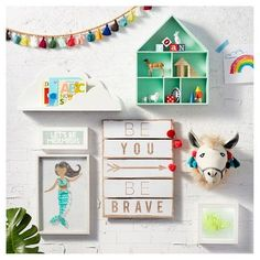 Kids and grown-ups alike can take the message to heart on the Be You Be Brave Plank Art from Pillowfort. This kids' wall art is an inspiring message for the wall of a boy's or girl's room and reminds them of how important they are to you and how much you believe in them.