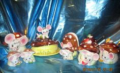 Vintage Holt Howard Enesco Missy Mouse Condiment jars Light Cheese Dish shakers