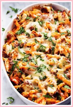 All of the goodness of chicken parmesan packed into a delicious cheesy casserole! Crispy chicken, marinara sauce, penne pasta, and cheese. Shredded Chicken Casserole, Pork Casserole Recipes, Chicken Parmesan Casserole, Chicken Parmesan Recipes, Pasta Recipes, Dinner Recipes, Baked Chicken, Crispy Chicken, Noodle Casserole