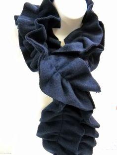 Long Fleece Ruffled Scarf in Soft Navy  by StitchKnit, $15.00