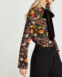 Discover the new ZARA collection online. Zara Tops, Ditsy Floral, Shirt Blouses, Printed Shirts, Tweed, Bell Sleeve Top, My Style, Coat, Jackets