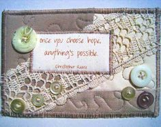 HOPE Fabric Postcard Mini Art Quilt Collage Quote by by zelzee, $12.00