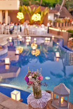 Pool Wedding Decoration Ideas floating candles for pool wedding 15 Pool Decor Ideas For Your Backyard Wedding