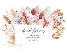 Watercolor Flowers, Watercolor Art, Fall Bouquets, Free Advertising, Boho Designs, Pampas Grass, Frame Wreath, Tropical Leaves, Print Templates
