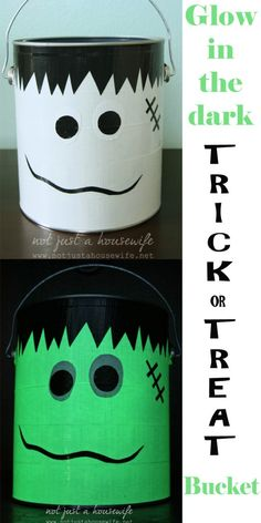 Make a super simple glow-in-the-dark trick or treat bucket for your kids!