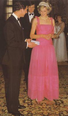 April 20, 1985: Prince Charles & Princess Diana attending the opera at La Scala, Milan during the Royal Tour of Italy.