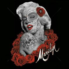 0503707f411ce Marilyn Monroe Zombie T-Shirt. Dia de Los Muertos T-Shirt. Marilyn Monroe  in a Goth appearance with Tattoos and Roses. This design is professionally  applied ...