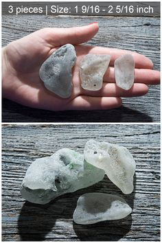 Color: white  Size:  cm: 3.9 - 5.9  inch: 1 9/16 - 2 5/16  Quantity: 3 pieces    Weight: 70g  Nice, natural sea glass pieces. This lot includes 3 pieces of Big melted sea glasses in different sizes and colors. You will receive the exact ones pictured pieces of sea glass.