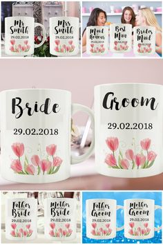 Floral Watercolour Wedding Mugs Set https://www.etsy.com/uk/listing/505679326 #prandski #weddingsuk #weddingmugs #mrandmrsmugs #couplesmugs #weddinggifts