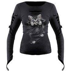 Bright Eyes, fantasía gótica plasmada en una camiseta que podrás usar para cualquier ocasión. Un gato lindo con ojos de color morado asoma fuera de la camiseta con flecos en la parte superior. Calidad superior 100% algodón, interlock usando tintesrespetuososcon la piel, azo-free. 100% Algodón Espiral es una antigua marca especializada en Heavy metal y …