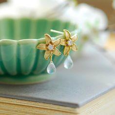 #photography #etsy Moonstone Earrings - Gold stud earrings - June birthstone jewelry - Gold flower earrings - beach wedding - moonstone jewelry