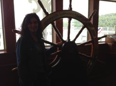 Huge wheel in the Chart Room.  It was fun to steer the boat from here.
