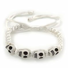 White Acrylic 'Skull' Shamballa Bracelet - 11mm - Adjustable Avalaya. $8.91. Wear On: wrist. Collection: pirate. Material: plastic. Occasion: casual wear, party. Theme: skull