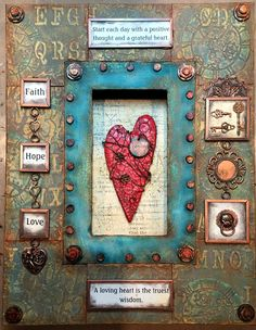 This frame was featured on DecoArt's Media Blog.  Here is the link: http://decoart.com/mixedmediablog/project/636/faith_hope_and_love_frame