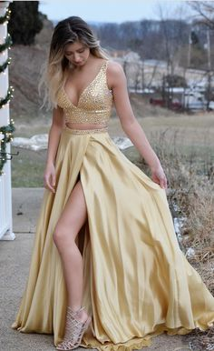 Gorgeous Two Piece Gold Long Prom Dress with #prom #promdress #dress #eveningdress #evening #fashion #love #shopping #art #dress #women #mermaid #SEXY #SexyGirl #PromDresses