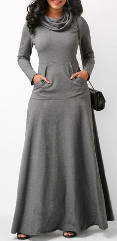 Grey Long Sleeve Cowl Neck Maxi Dress.