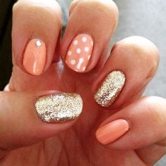 Cnd shellac - salmon run, gold glitter and polka dot combo