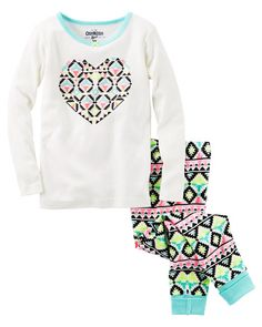 Baby Girl 2-Piece Geo Heart Snug Fit Cotton PJs from OshKosh B'gosh. Shop clothing & accessories from a trusted name in kids, toddlers, and baby clothes.