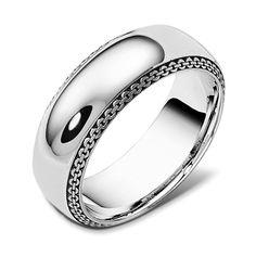 Dora International mens link motif wedding band #mensWeddingBands #MensWeddingRings