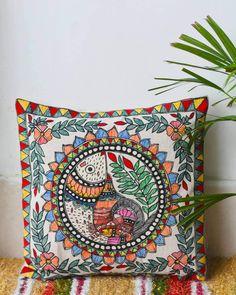 Madhubani Art, Madhubani Painting, Travel Packing Checklist, Cushion Cover Designs, Diy Cushion, Indian Folk Art, Coasters, Mandala, Cushions