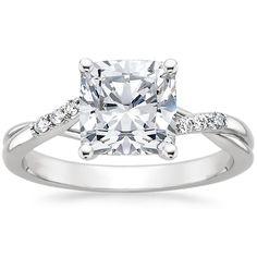 18K WHITE GOLD CHAMISE DIAMOND RING WITH 1.01 CARAT CUSHION DIAMOND $3,200