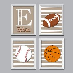 Set of 4 Boy Sports Balls Football Baseball Basketball Print Artwork Set of 4 Prints Child Crib Nursery Wall Baby Decor Art Stripe on Etsy, $35.00