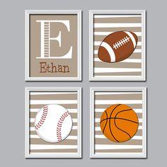 Set of 4 Boy Sports Balls Football Baseball Basketball Print Artwork Set of 4 Prints Child Crib Nursery Wall Baby Decor Art Stripe on Etsy, $35.00