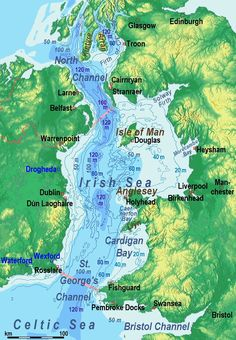 Irish Sea- relief, ports, limits
