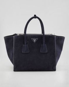 OMG OMG  I've been dying for a navy navy bag - and Prada has one....Prada Suede Twin Pocket Tote Bag, Navy - Neiman Marcus