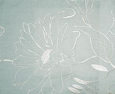 Hutton Linen Fabric Pale aqua linen with stone embroidered floral design
