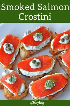 Smoked Salmon Crostini - Appetizer inspired by bagels and lox, with a light Greek yogurt cream cheese spread, fresh dill, and capers. | ToriAvey.com #crostini #smokedsalmon #appetizer #fingerfood #lox #creamcheese #kosher #dairy #TorisKitchen