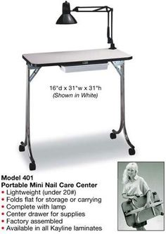 Kayline Portable Manicure Table Nail Care Center 401 - Professional Styling Source - Beauty Salon, Spa, Hair Styling, & Barber Supply