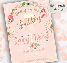 Floral Boho Bridal Shower Invitation-Pink Bridal by Hottomatoink2