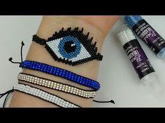 Beaded Bracelet Patterns, Beading Patterns, Beaded Bracelets, Wire Jewelry, Beaded Jewelry, Evil Eye Bracelet, Homemade Jewelry, Brick Stitch, Beading Tutorials