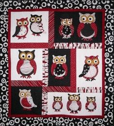 The Owl Parliament cot quilt, so adorable Quilt Baby, Cot Quilt, Owl Quilt Pattern, Quilt Patterns, Owl Applique, Applique Quilts, Quilting Projects, Sewing Projects, Projects To Try