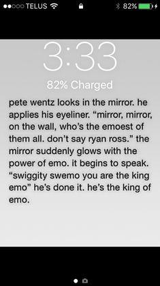 swiggity swemo i am the queen of emo Emo Band Memes, Emo Bands, Music Bands, Music Stuff, My Music, Pete Wentz, Bd Comics, Killjoys, Music Memes