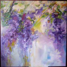 Lilac flowers- acrylic on canvas, 100/100 cm, 2017, Derecichei Simona Mihaela