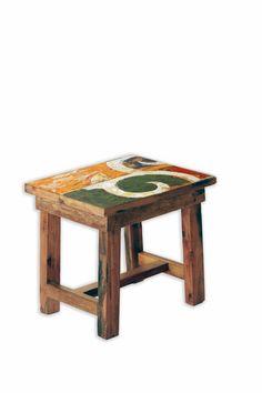 table dappoint tabouret en bois de bateaux de java recycl pice unique